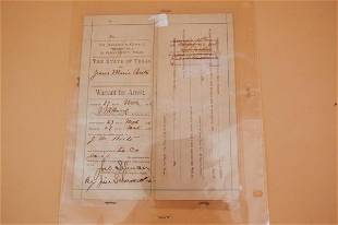 560: Original 1895 El Paso County warrant for arrest