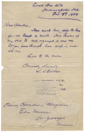 Four Early ALSs from S.S. Baldwin to Harry Houdini.