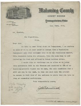 Houdini Punishment Suit Challenge Letter.