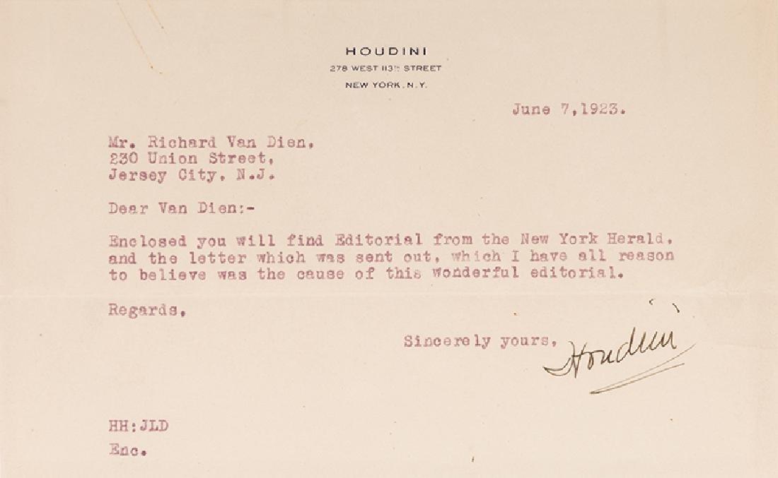 "Typed Letter Signed, ""Houdini,"" to Richard Van Dien. - 2"