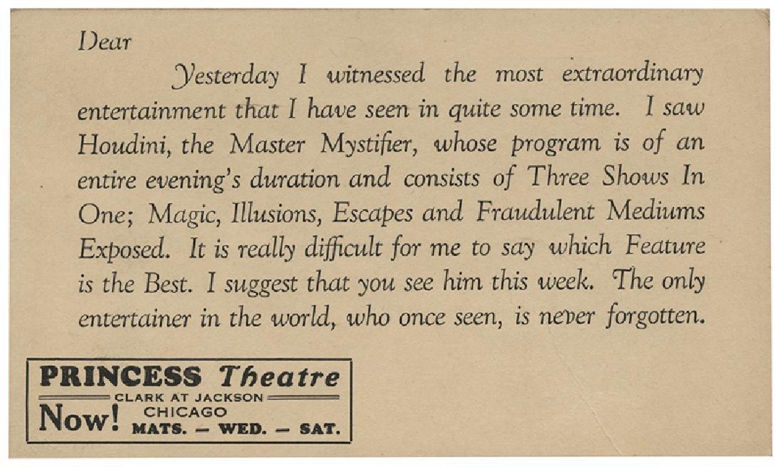 "Houdini ""Master Mystifier"" Laudatory Postcard."