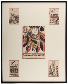 "Four Framed ""Jeu de Drapeaux"" Playing Cards and ""Knave"