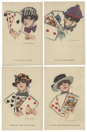 Set of Four Italian Art Deco Playing Card Postcards.