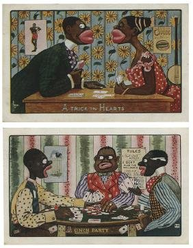 Two Black Americana Playing Card Postcards.