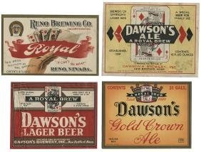 Five Beer Labels with Playing Cards.
