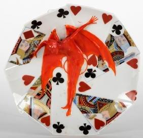 Royal Bayreuth Devil & Card Porcelain Candy Dish.