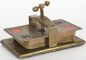 Brass Card Press with Painted Suit Symbols in the