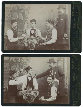 Pair of Cabinet Card Photographs. Officer Breaking Up a