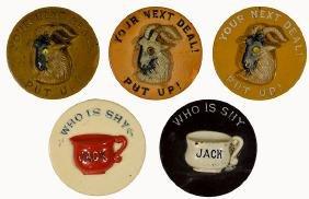 Five Antique Dealer Chips.