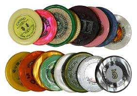 15 Foreign Plastic Casino Gambling Chips.