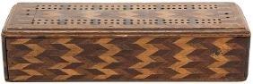 Inlaid Wood Cribbage Board.