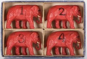 Four Elephant Bridge Table Markers with Numbers.
