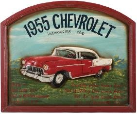 1955 Chevrolet Carved Wood Sign.