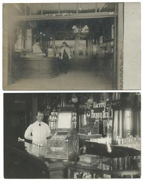 Two Real Photo Saloon Postcards with Cast Iron Trade