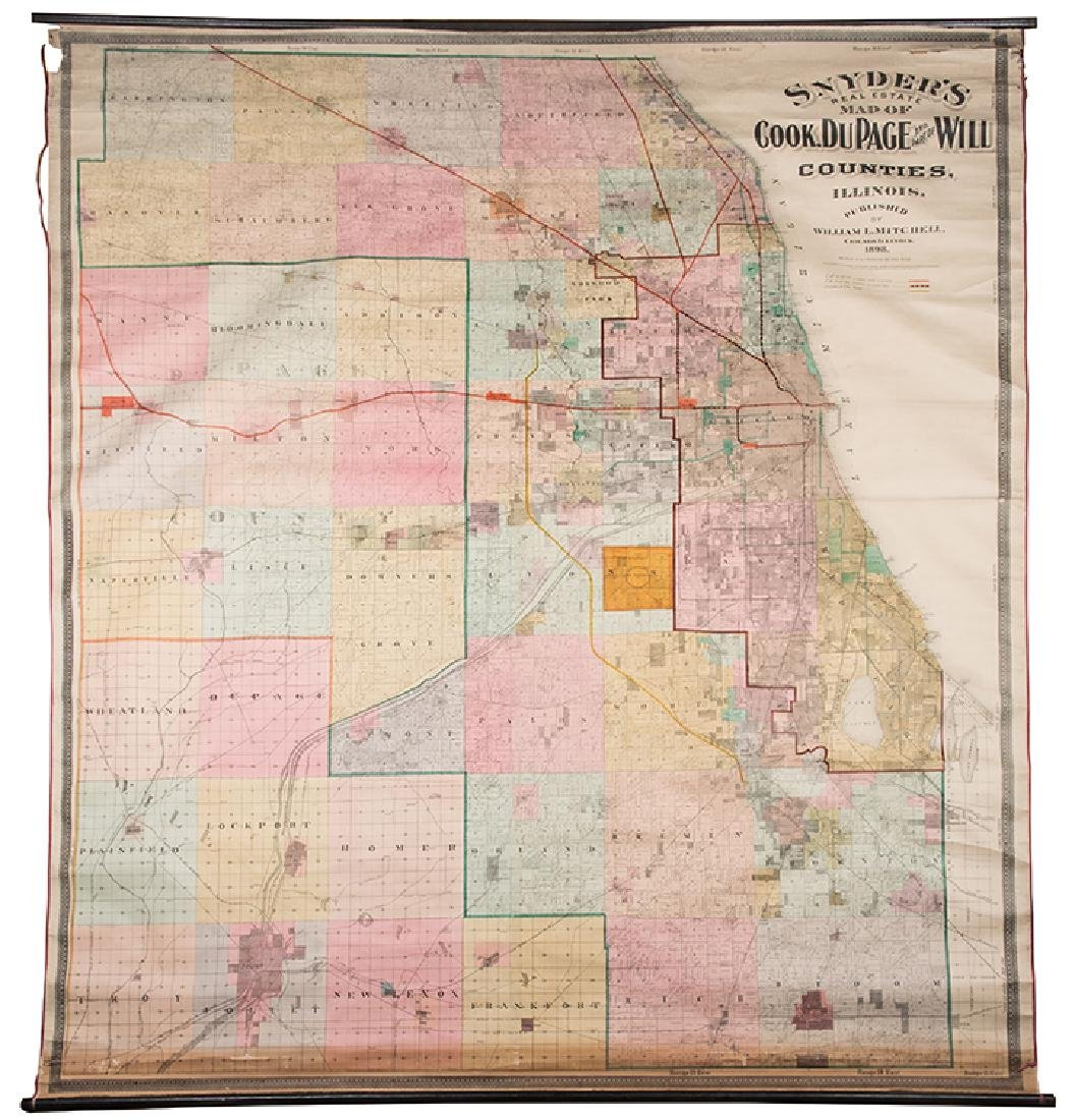 [Chicago. Wall Map] Mitchell, William. Snyder's Real