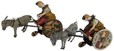 Pair of Lehmann Circus Chariot Key-Wind Toys.