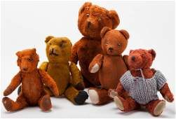 Group of Five Vintage Teddy Bears and a Steiff