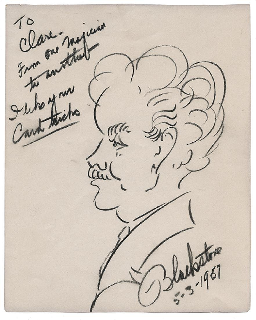Self-Portrait Caricature of Magician Harry Blackstone.
