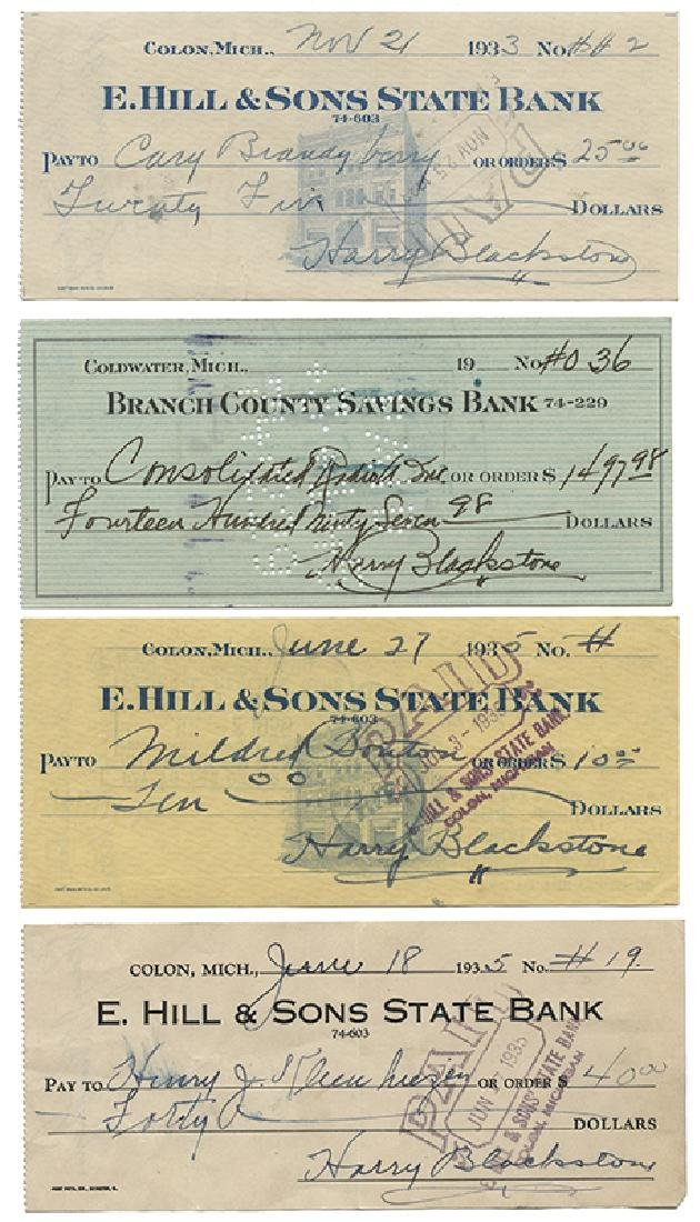Group of 10 Checks Signed by Harry Blackstone.