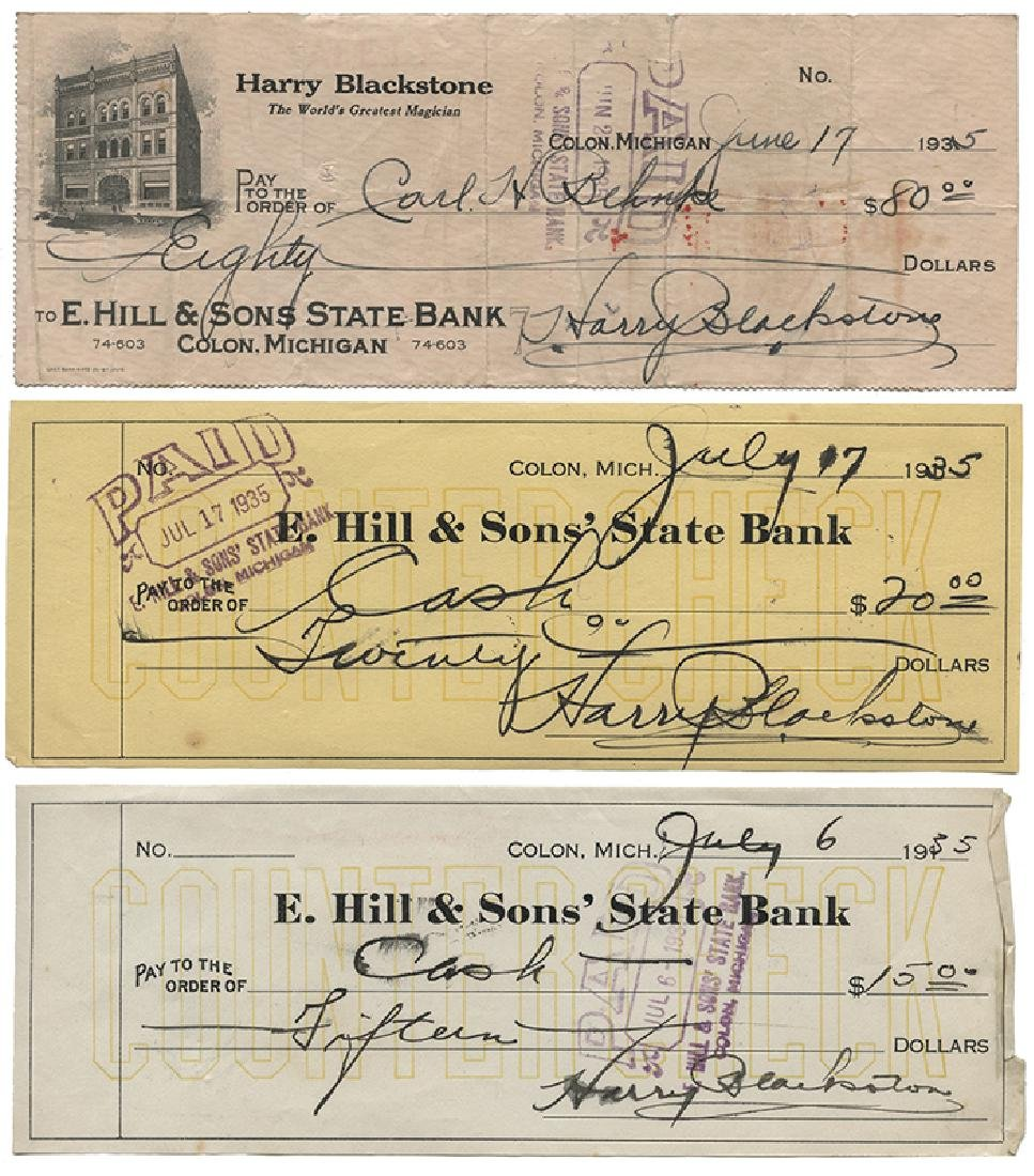 Group of 10 Checks Signed by Harry Blackstone. - 2