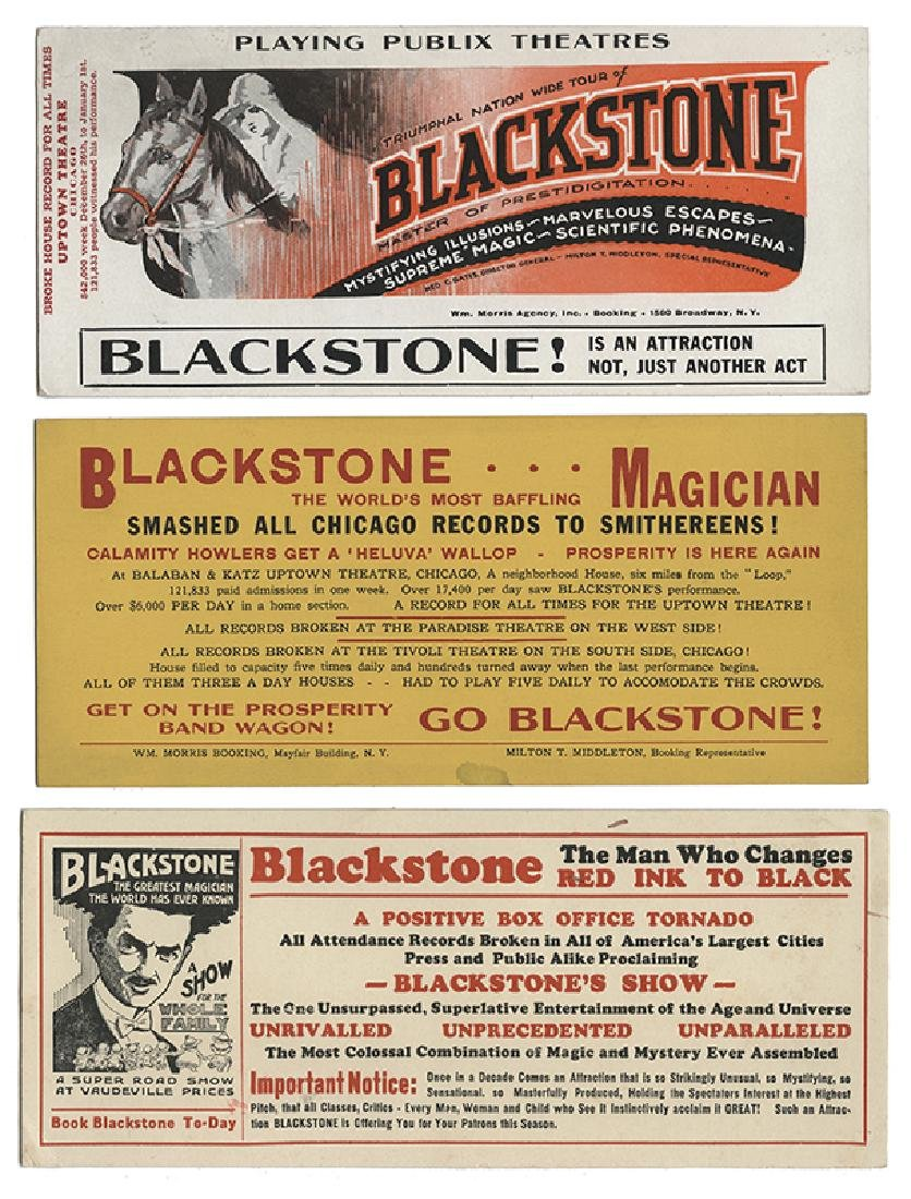 Trio of Blackstone Magic Show Blotters.