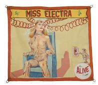 Miss Electra. Painted Canvas Sideshow Banner.