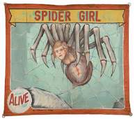 Spider Girl. Painted Canvas Sideshow Banner.