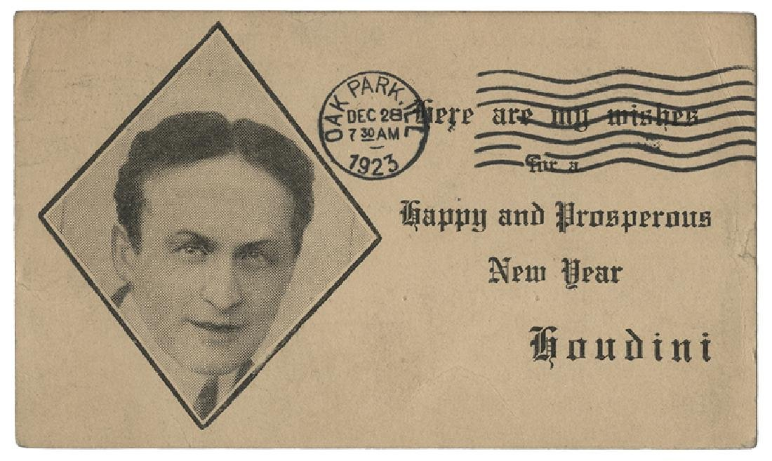 Houdini New Year Greeting Postcard.