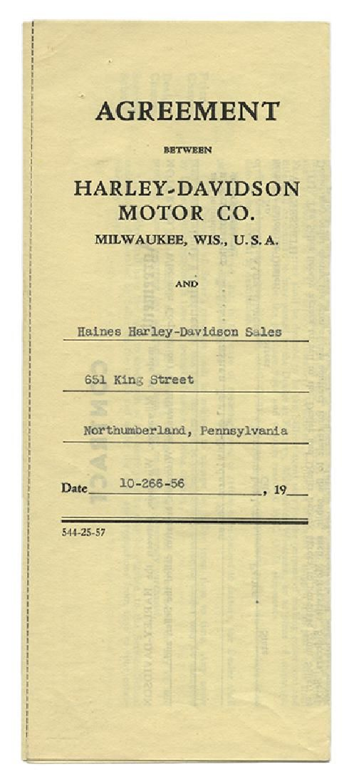 Harley—Davidson Contract Signed by William Davidson.