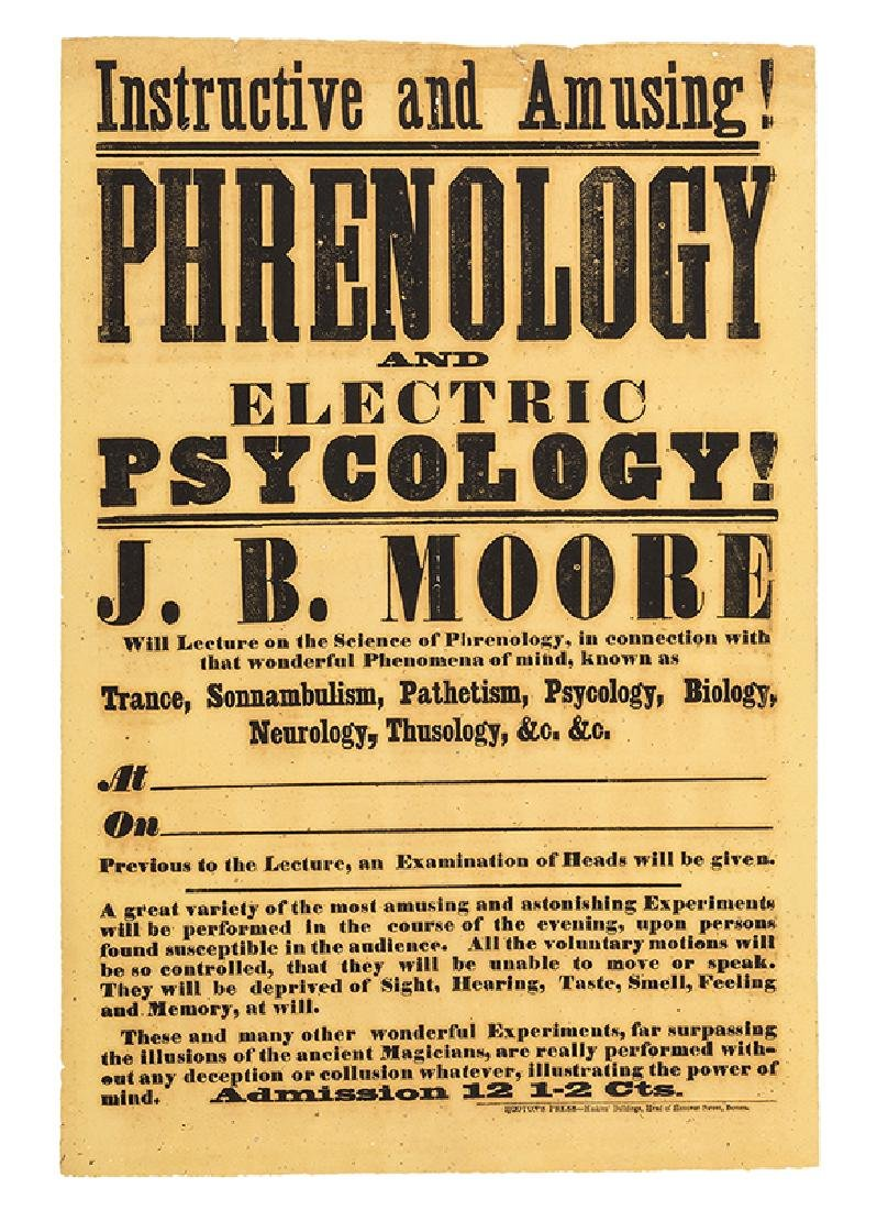 Phrenology and Electric Psychology Lecture Broadside.