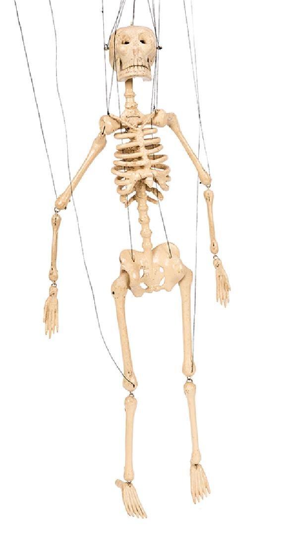 The Great Virgil's Hand-Carved Skeleton Marionette.