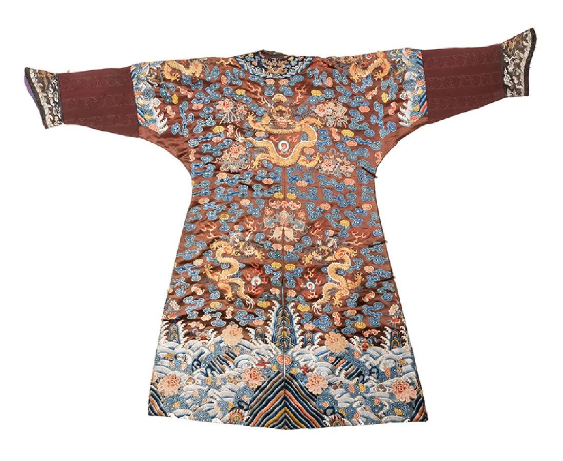 Virgil's Chinese Imperial Chestnut Dragon Robe. - 2