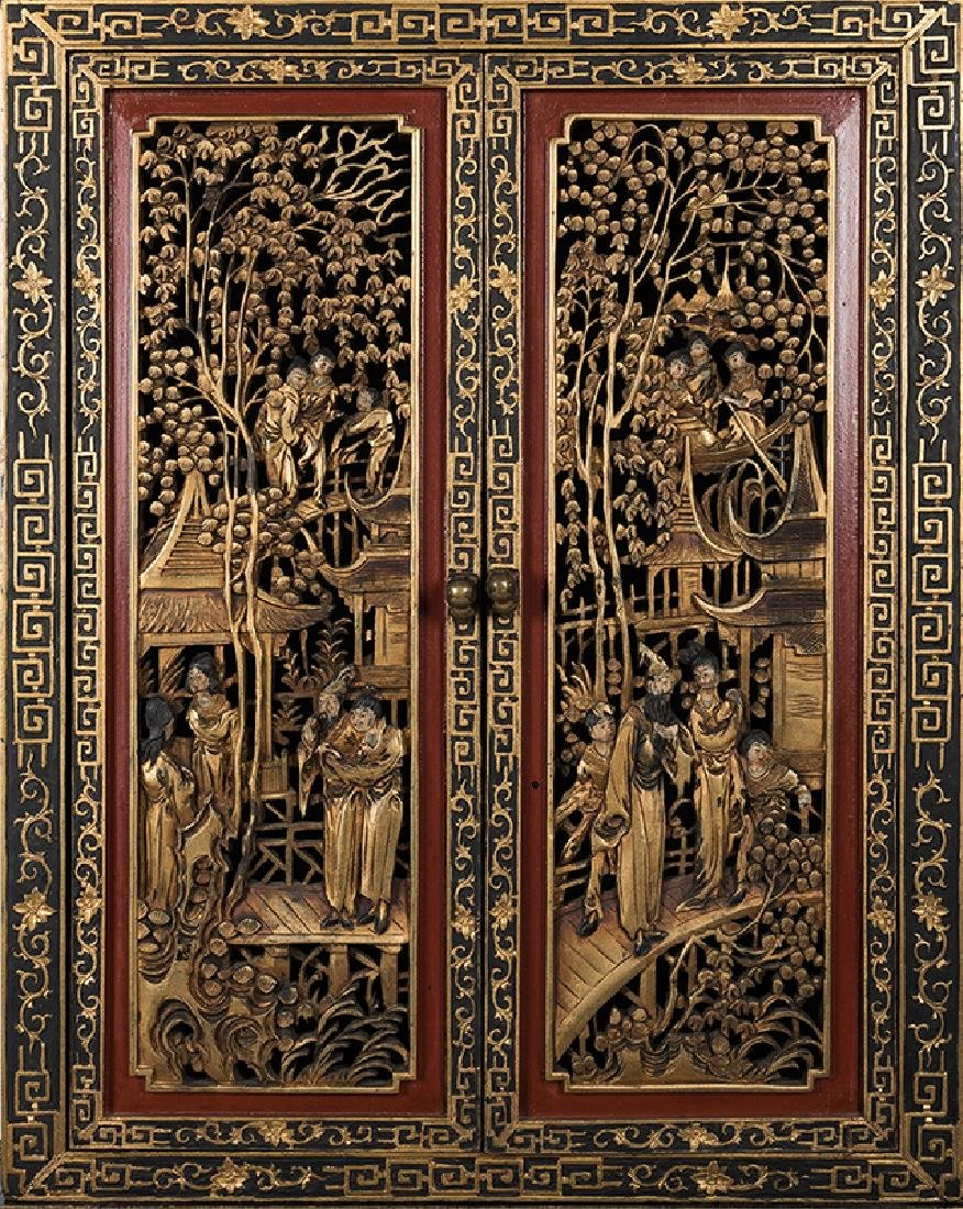 A Large and Ornately Carved Chinese Cabinet on Stand. - 2