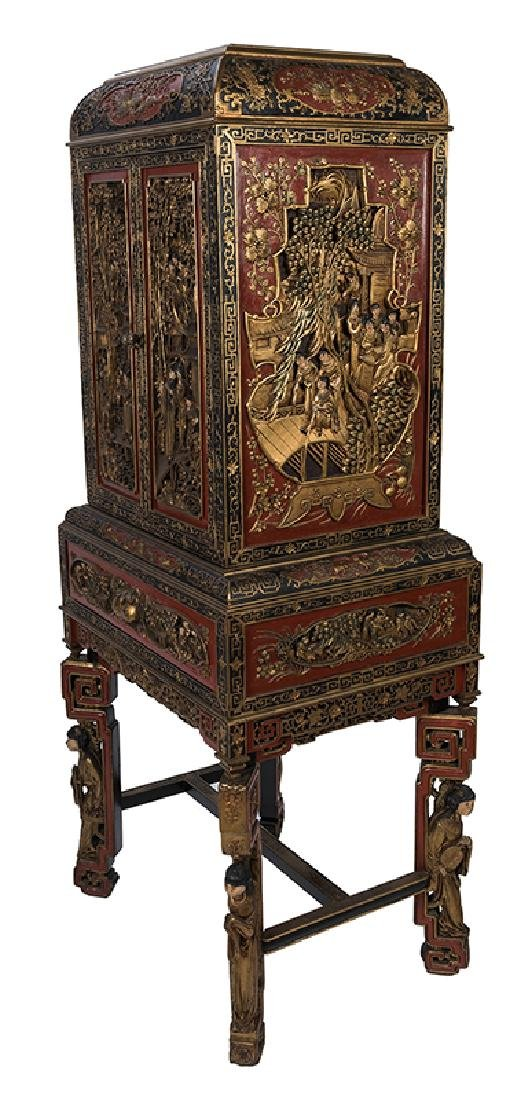 A Large and Ornately Carved Chinese Cabinet on Stand. - 3