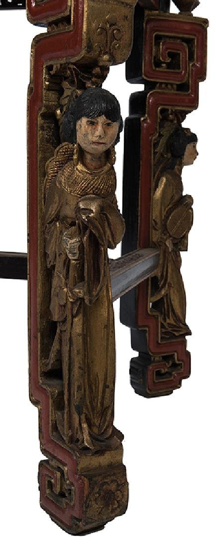 A Large and Ornately Carved Chinese Cabinet on Stand. - 4