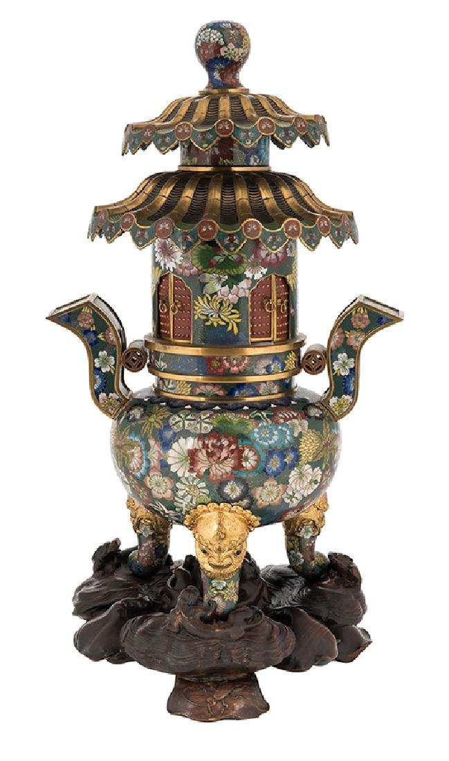 Chinese Cloisonne Incense Burner and Cover on Carved