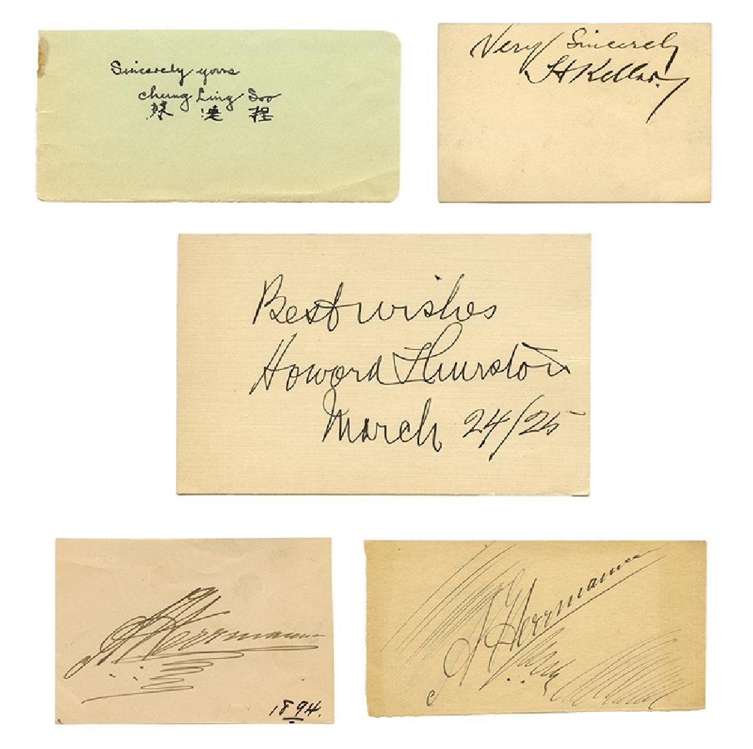 Lot of Five Cut Signatures of Famous Magicians.