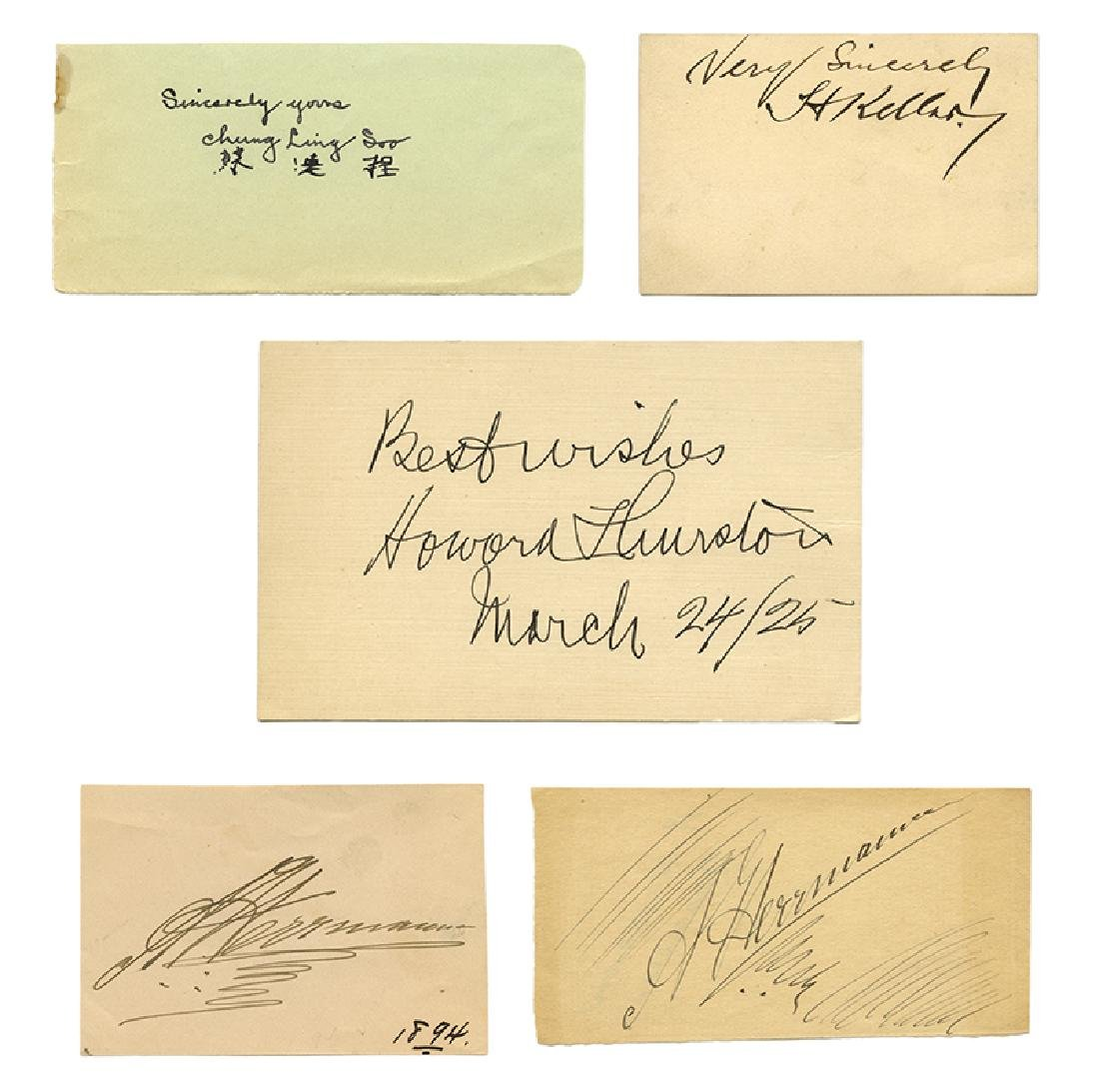 Lot of Five Cut Signatures of Famous Magicians.