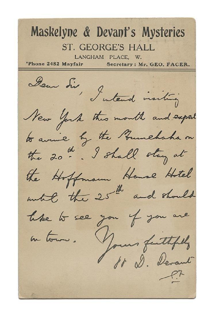 David Devant Dictated Postcard to John W. Sargent.