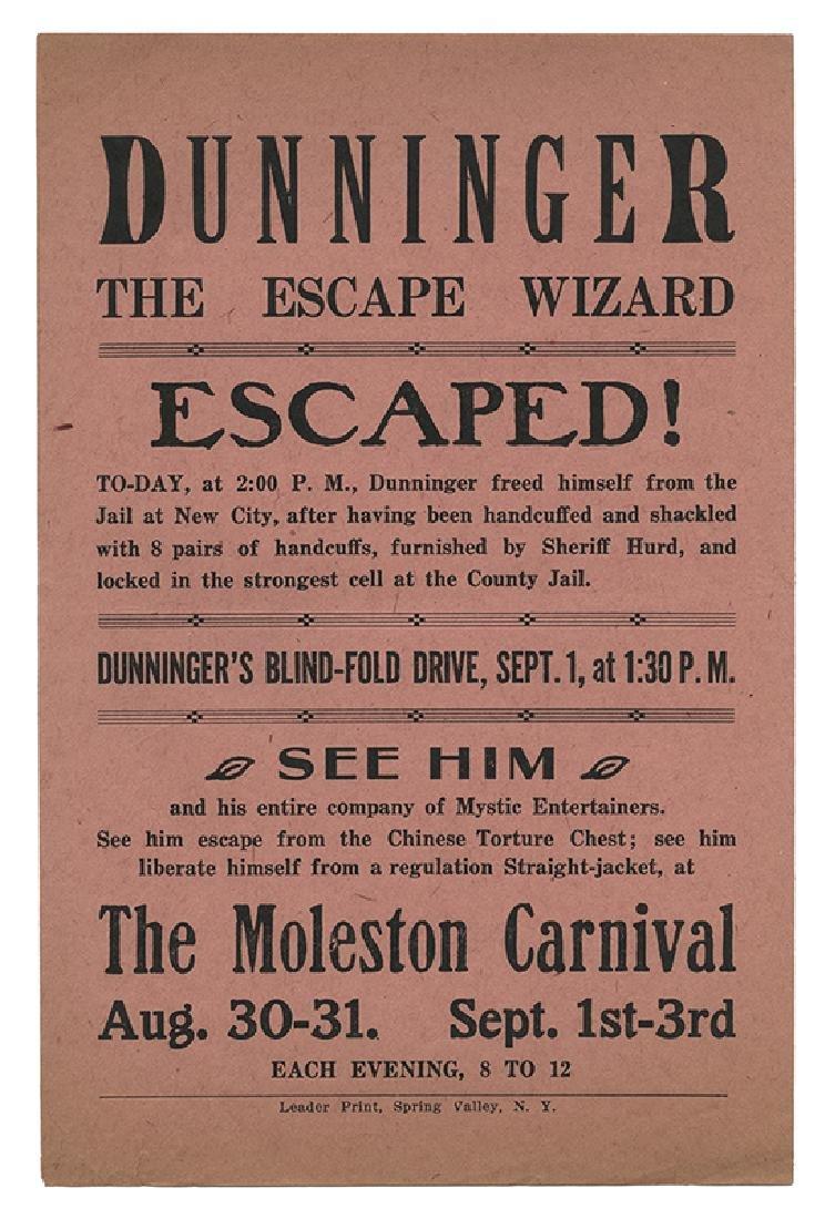Dunninger Escape Wizard Handbill. Moleston Carnival.