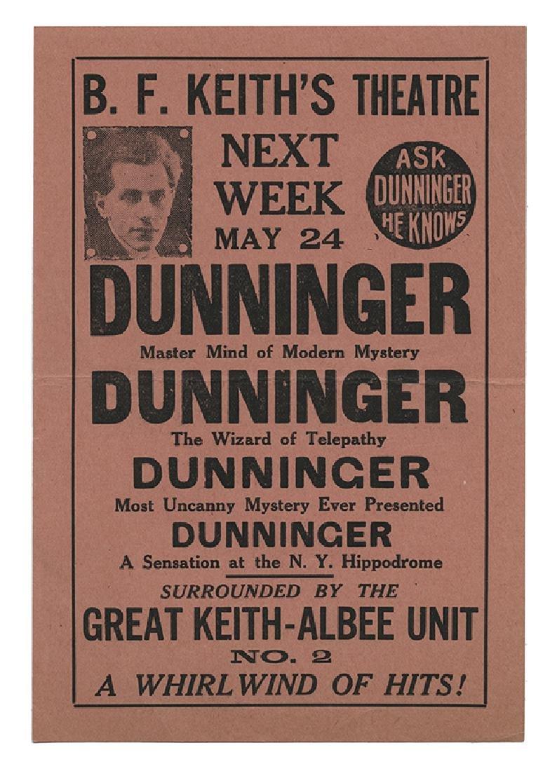 Dunninger Escape Wizard Handbill. Moleston Carnival. - 2