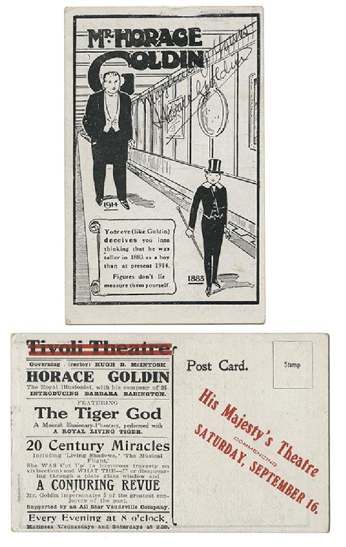 Horace Goldin Signed Optical Illusion Postcard.