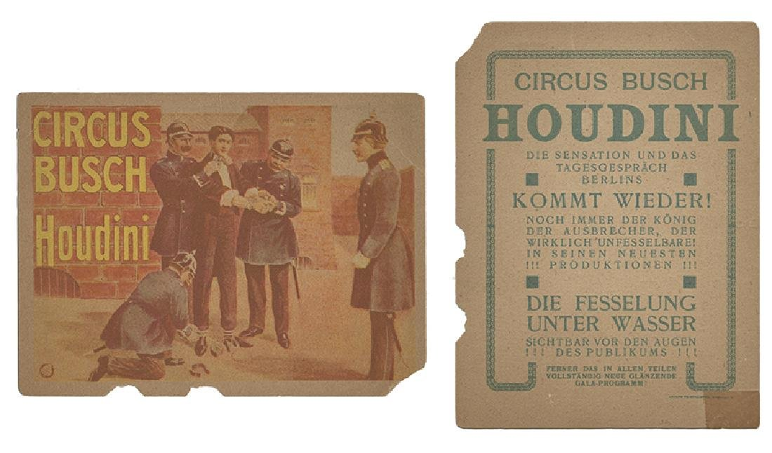 Houdini Circus Busch Water Torture Cell Bill Card.