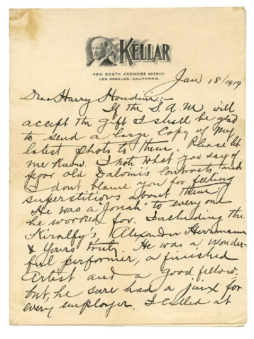 "Autograph Letter Signed, ""Kellar,"" to Harry Houdini."