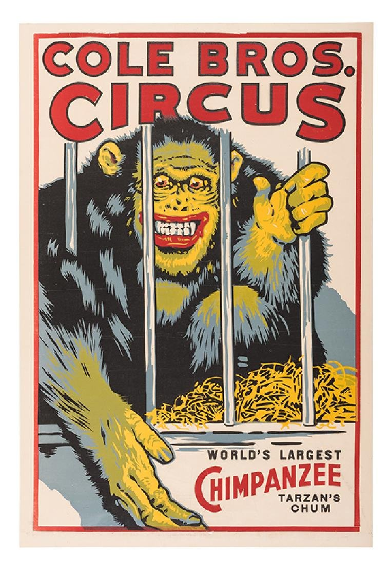 Cole Brothers Circus. World's Largest Chimpanzee.