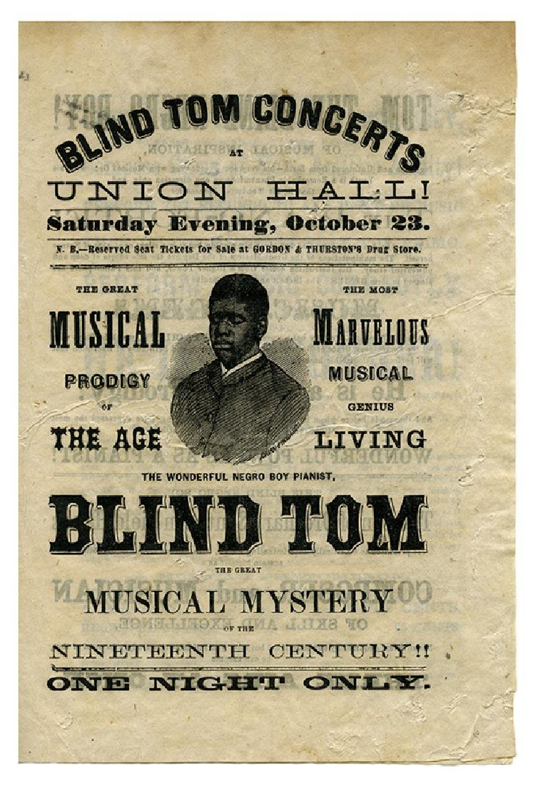 Blind Tom Concerts at Union Hall. Musical Prodigy of