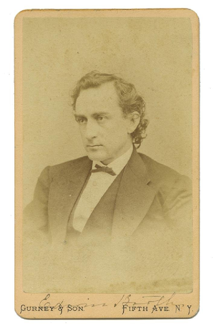 CDV of Edwin Booth With Autograph.