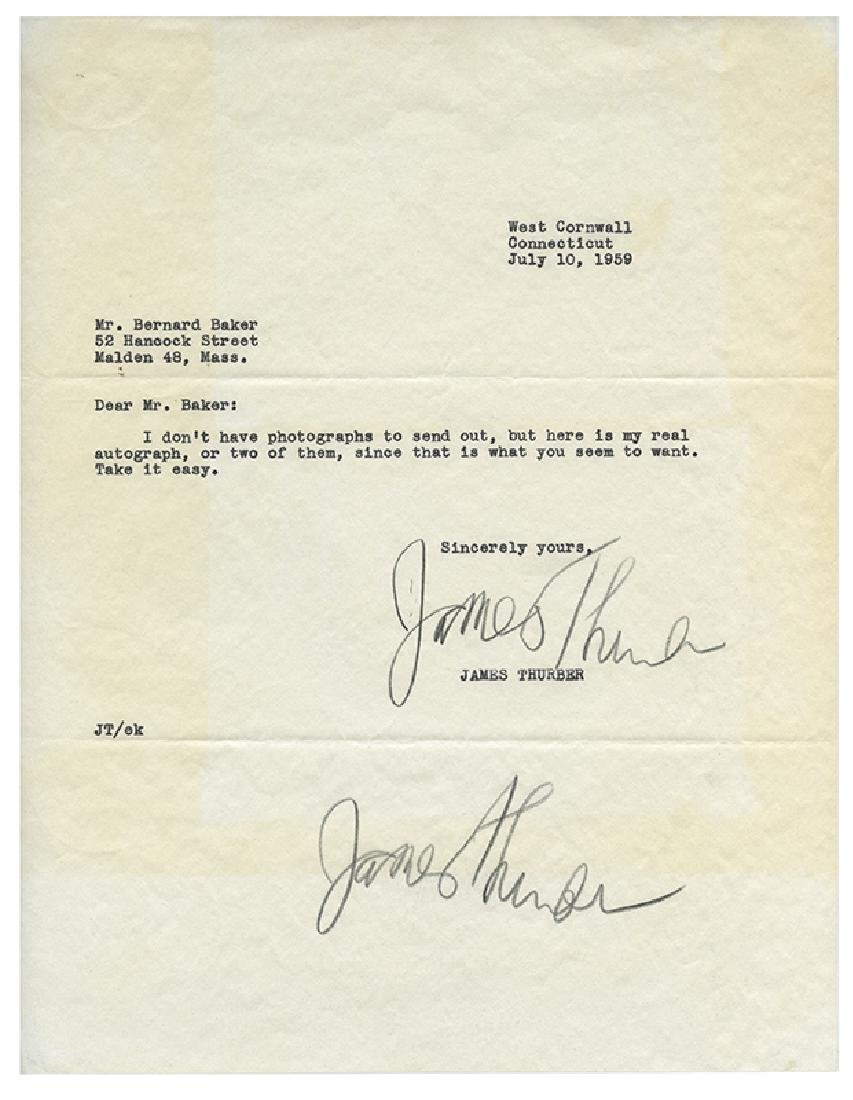 James Thurber Typed Letter, Signed Twice.