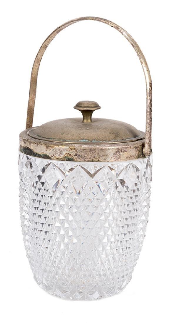 Elizabeth Taylor silver plate and cut glass jar.