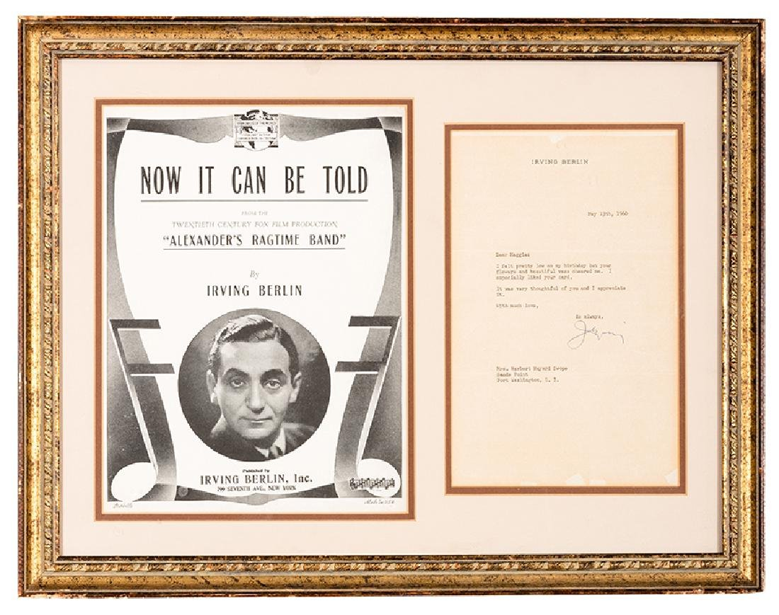Framed Irving Berlin TLS to Margaret Hayes.